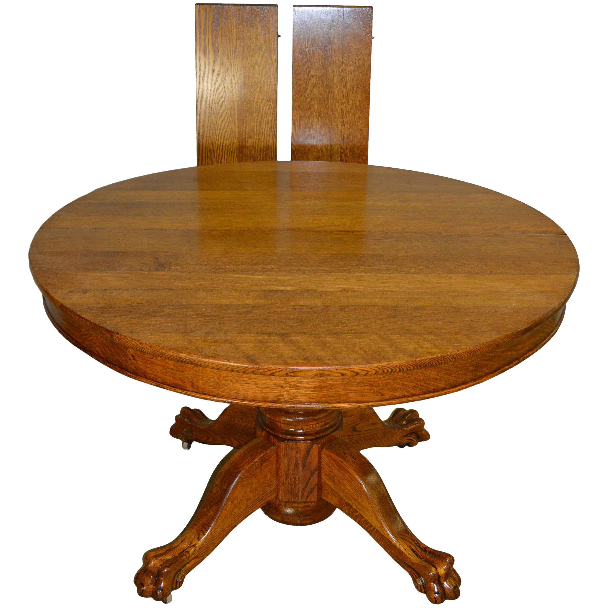 Round Oak 45 Claw Foot Dining Table With 2 Leaves Maine Antique Furniture Ruby Lane