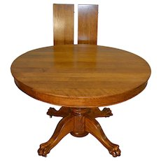 "Round Oak 45"" Claw Foot Dining Table with 2 Leaves"