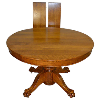 """Round Oak 45"""" Claw Foot Dining Table with 2 Leaves"""