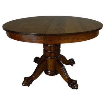 Round Oak Claw Foot Dining Table 45 Inch