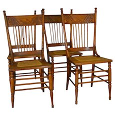 Set of 4 Antique Oak Pressback Dining Chairs