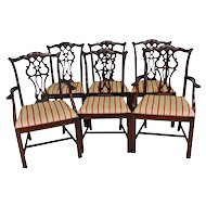 Set of 6 Chippendale Formal Carved Dining Chairs