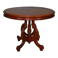 Oversize Victorian Oval Walnut Parlor Stand