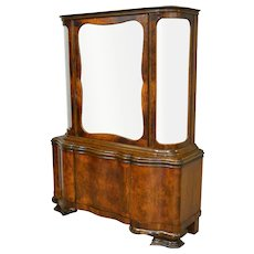 Burl Walnut Bevel Glass China Cabinet