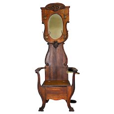Oak Carved Bevel Mirror Lift Seat Hall Tree