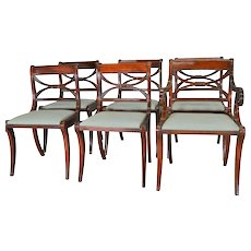 Set of 6 Empire Style Mahogany Chairs by Drexel