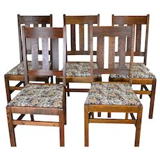 Set of 5 Oak Mission Dining Chairs