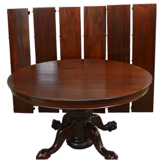 Mahogany Heavily Carved Ball & Claw Banquet Dining Table w/6 Leaves