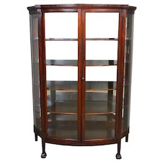 Mahogany Claw Foot China Closet with Serpentine Glass