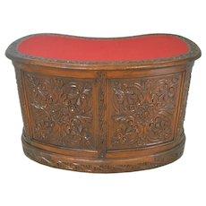 Rare Carved Victorian Oak Kidney Desk