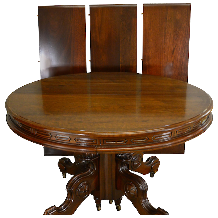 Victorian Round Walnut Dining Table W Carved Skirt Split Base 3 Leaves