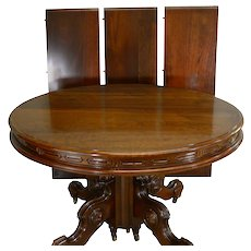 Victorian Round Walnut Dining Table w/ Carved Skirt Split Base 3 Leaves