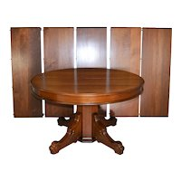 Victorian Round Walnut Banquet Table 12 Feet Long!!