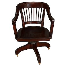Mahogany Lawyer's Banker's Swivel and Tilt Office Chair