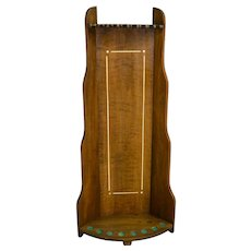 Mahogany Inlaid Deco Style Pool Table Cue Rack