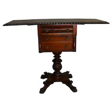 Empire Drop Leaf Work Table Acanthus Carved