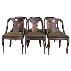 Set of 6 Period Pre-Civil War Empire Dining Chairs