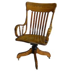 Victorian Oak Rolled Arm Bankers Lawyers Office Chair