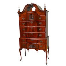 Period Flame Mahogany Chippendale High Boy Chest