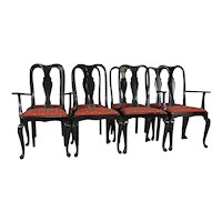 Set of 8 Black Lacquer Chippendale Dining Chairs – Twin Arms