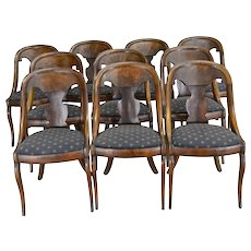 17486 Set of Period Flame Mahogany Empire Chairs – Rare