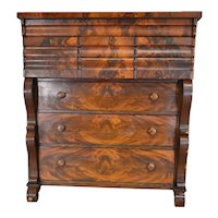 Empire Flame Mahogany Tall Chest – Period Pre-Civil War