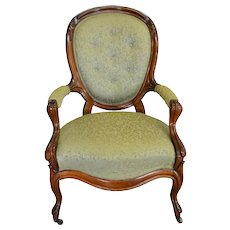 Victorian Carved Balloon Back Gentleman's Arm Chair