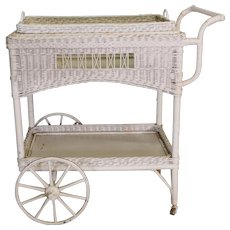Antique Wicker Tea Cart with Removable Tray – Rare
