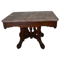 Victorian Marble Top Coffee Table with Burl Walnut
