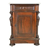 Victorian Rosewood Carved Marble Top Half Commode