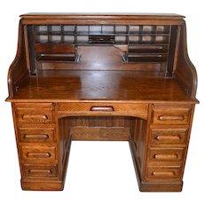 Victorian Oak Raised Panel Roll Top