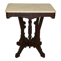 Walnut Victorian Carved Marble Top Parlor Stand