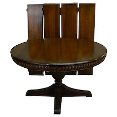 "Antique Mahogany Round Carved 54"" Dining Table w/4 Leaves"