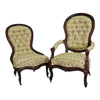 Pair of Victorian Carved Chairs Ladies and Gentleman's