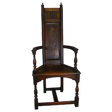 Walnut Decorated Throne Chair by Kittinger