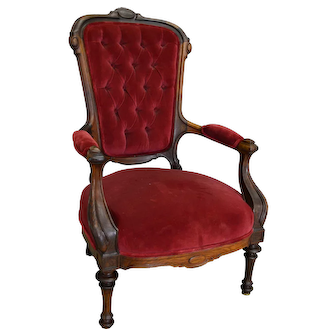Victorian Rosewood Red Velvet Arm Chair