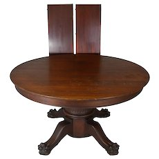 Victorian Mahogany Claw Foot Banquet Table-Opens 12 FEET!!