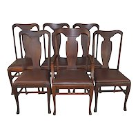 Set of 6 Oak Dining Chairs with Claw Feet