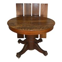 Victorian Round Claw Foot Split Base Dining Table – 44 Inches