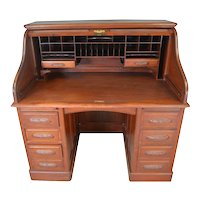 Mahogany Raised Panel Roll Top Desk Carved Pulls