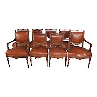 Rare Victorian Set of 8 Burl Walnut Dining Chairs – Twin Arms