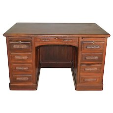 Mahogany Lawyers Flat Top Desk Carved Handles