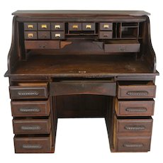 Oak Roll Top Desk with Carved Handles