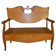 Victorian Oak Carved Hall Bench