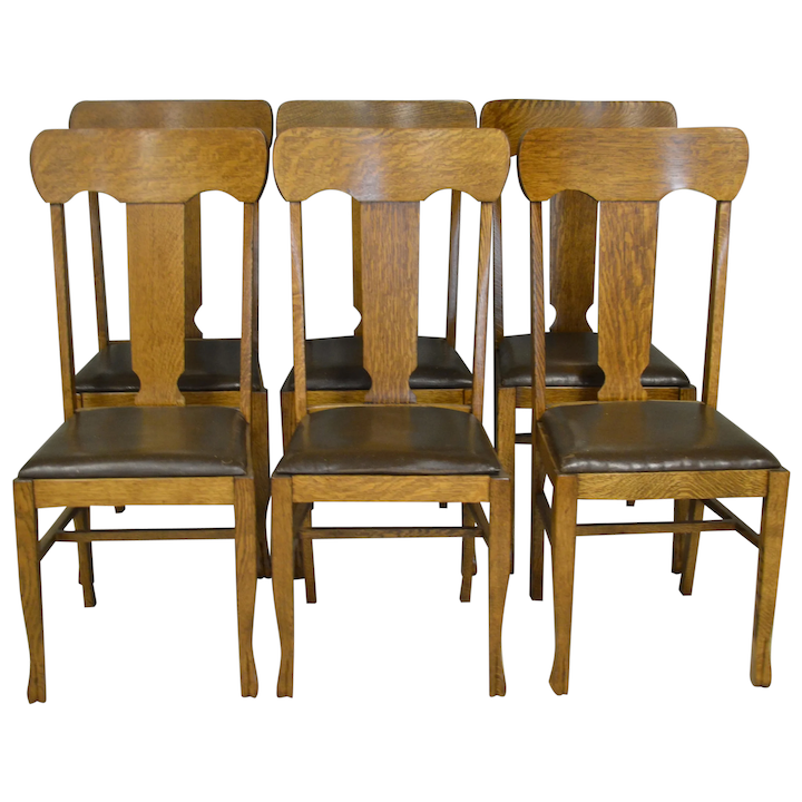 Wondrous Set Of 6 Oak Dining Chairs Refinished Caraccident5 Cool Chair Designs And Ideas Caraccident5Info