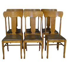 Set of 6 Oak Dining Chairs – Refinished