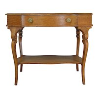 Shapely Victorian Oak Writing Ladies Desk / Library Table