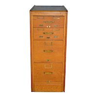 Oak Library Bureau of Congress Small File Cabinet