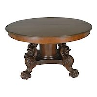 "Victorian Oak Lion Body Base 54"" Dining Table – Horner Style"
