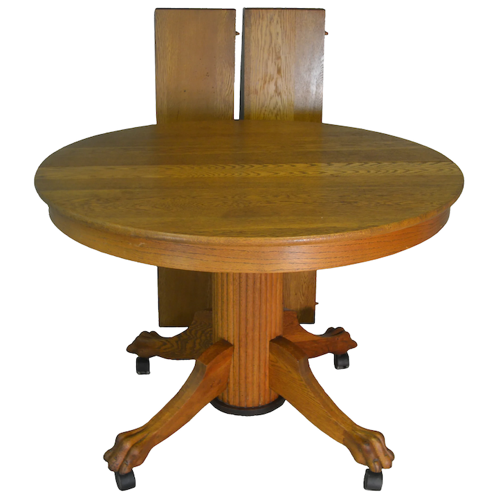 Oak Reeded Base Claw Foot Dining Table